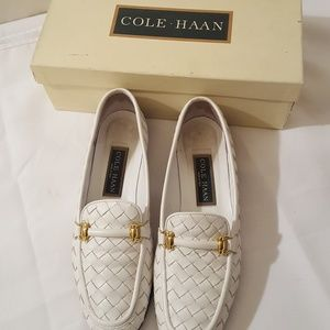 Women's Cole Haan 8 Woven White Leather Loafers